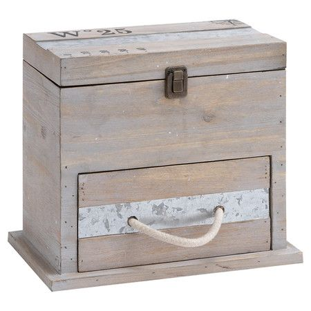 Stow car keys and postage stamps in this wood storage box, featuring a rope-handled drawer and cartography motif.  Product: Trin...