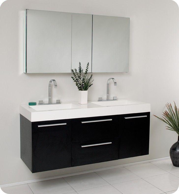 Fresca Fvn8013bw Opulento 54 Inch Black Modern Double Sink