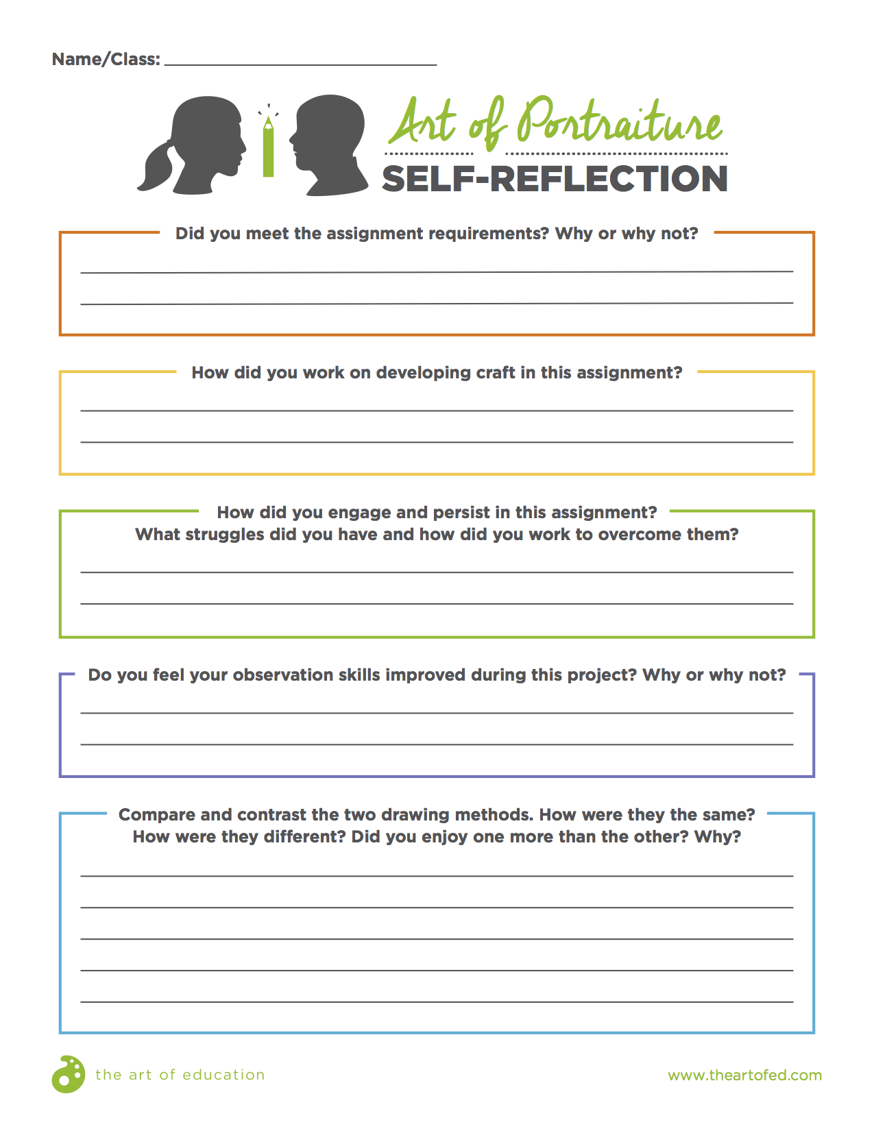 Self Reflection Worksheet For High School Students