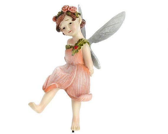 Garden Accessory Apricot Fairy Figurine ~ Miniature Apricot Rose Flower  Fairy ~ Miniature Forest Fairies For Gardens ~ Fairy Garden Supplies