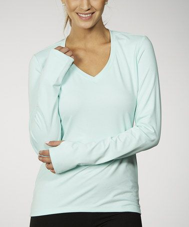 Another great find on #zulily! Blue Tint Double Dash V-Neck Tee - Women #zulilyfinds