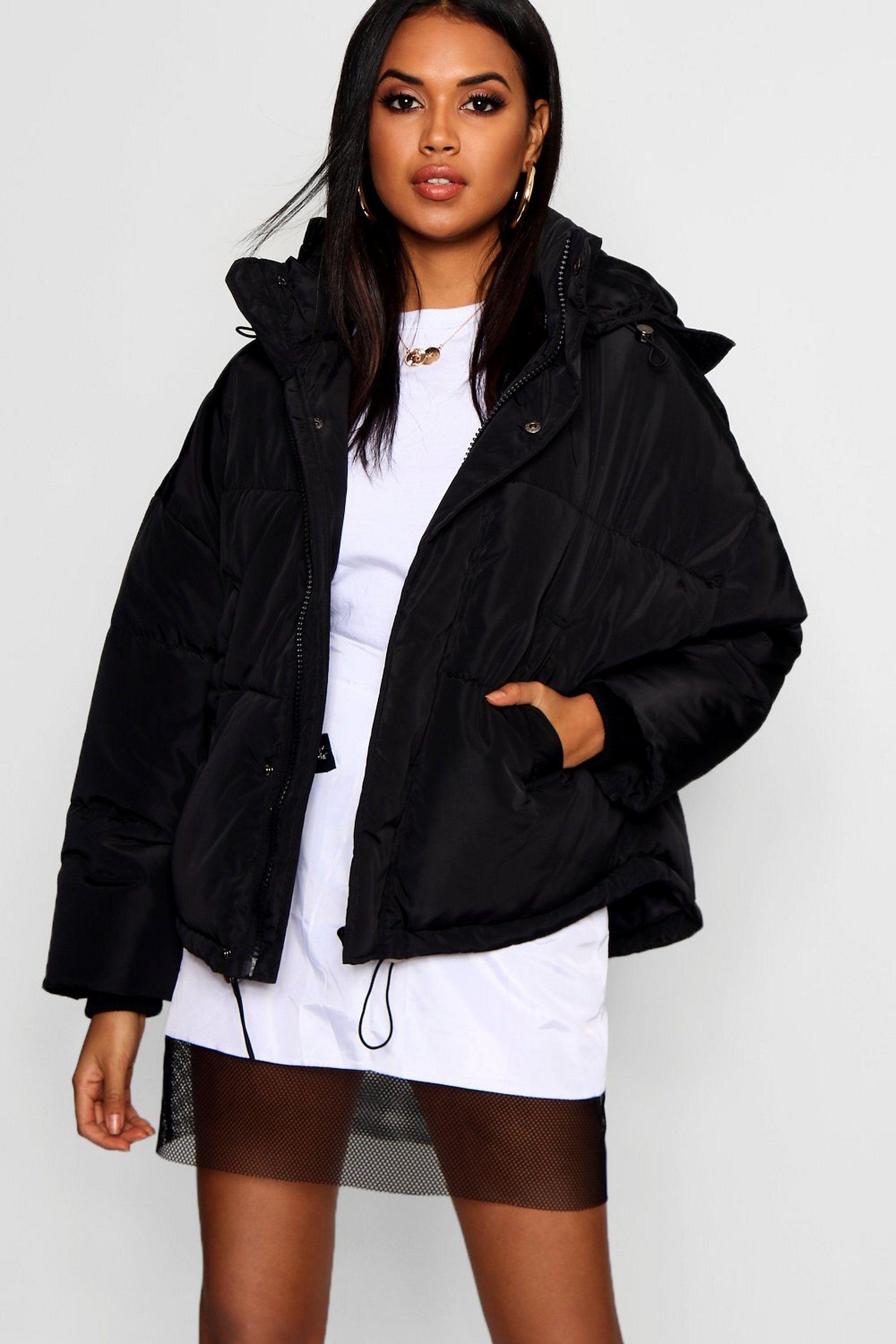 Oversized Hooded Puffer Jacket Boohoo Puffer Jacket Black Puffer Jacket Women Puffer Jackets [ 3272 x 2181 Pixel ]