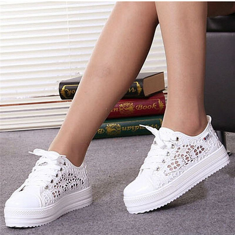 Women's Platform Flat Casual Shoes Floral Summer Shoes Hollow Lace Canvas Shoes
