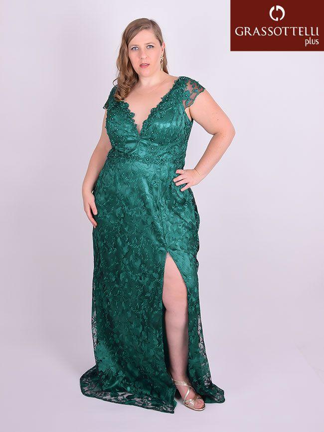 63ea2cfd7 Vestido Longo Festa Tule Bordado Fenda Verde Plus Size