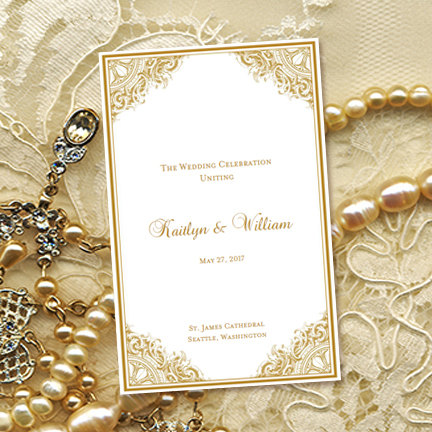 Wedding Program Template Vintage Gold X Foldover Printable - Wedding anniversary program templates