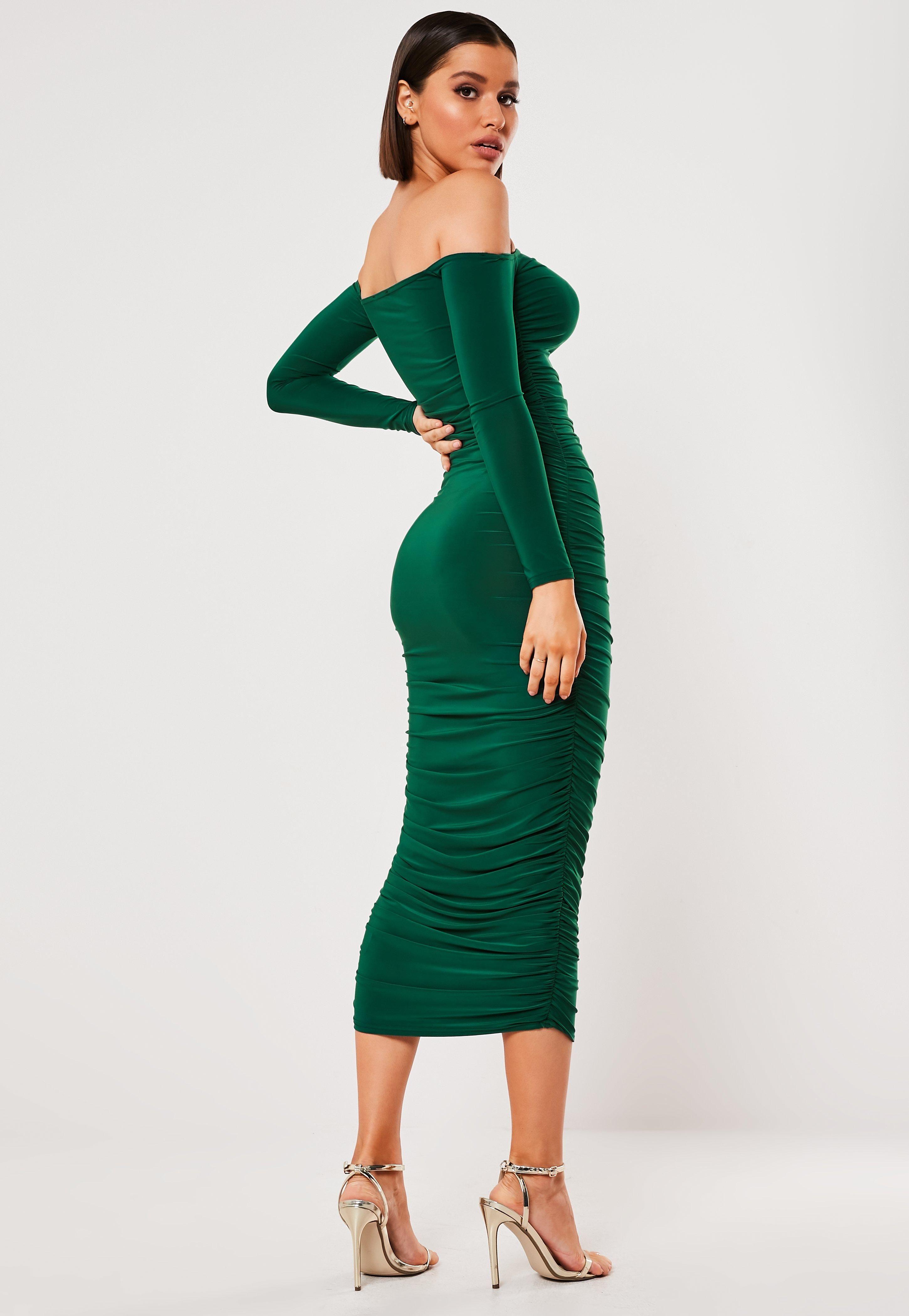 Dark Green Bardot Slinky Ruched Bodycon Midaxi Dress Sponsored Bardot Aff Slinky Dark Dresses Over The Shoulder Dress Ruched Bodycon Dress [ 4200 x 2900 Pixel ]