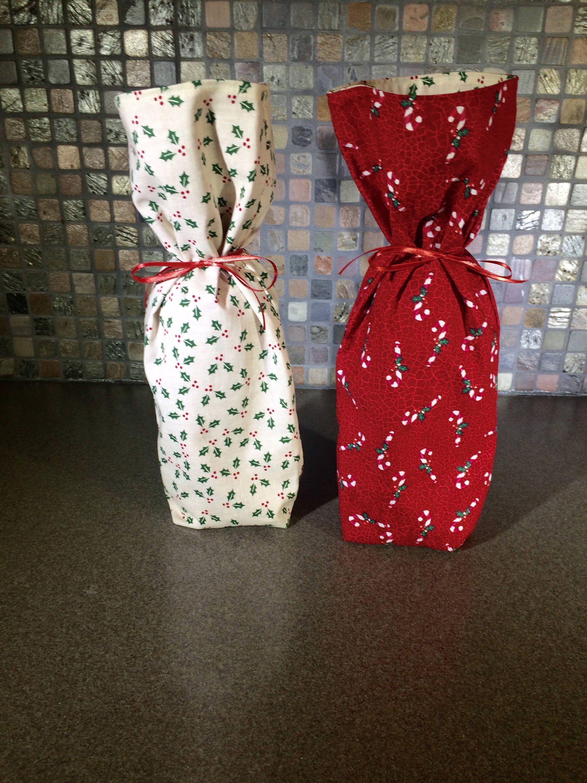 etsy shop: Wine Gift Bag Holiday Reversible Reusable Christmas ...