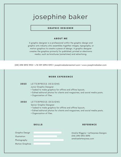 Blue and White Modern Minimalist Resume CV Pinterest
