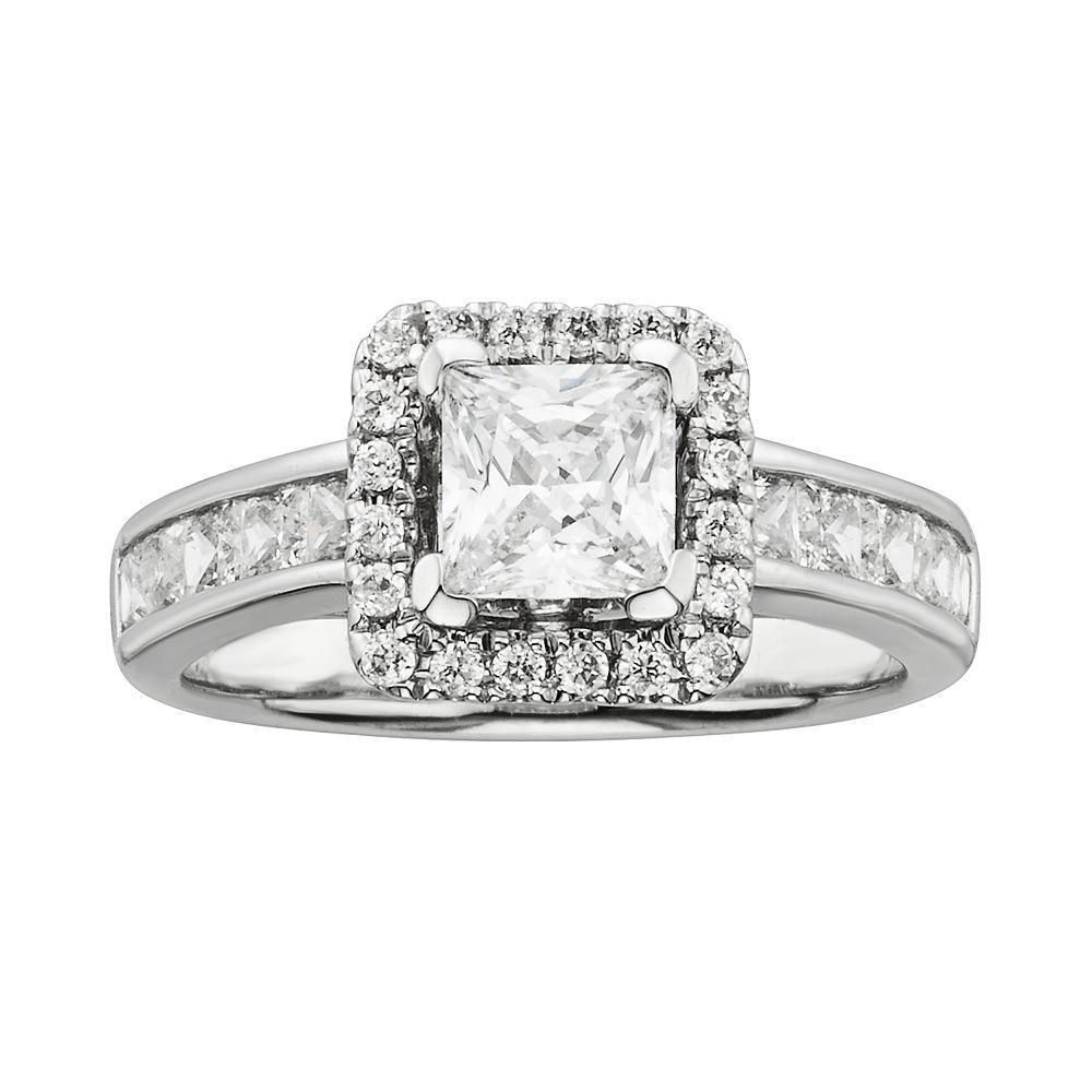 Kohlus princesscut igl certified diamond frame engagement ring in