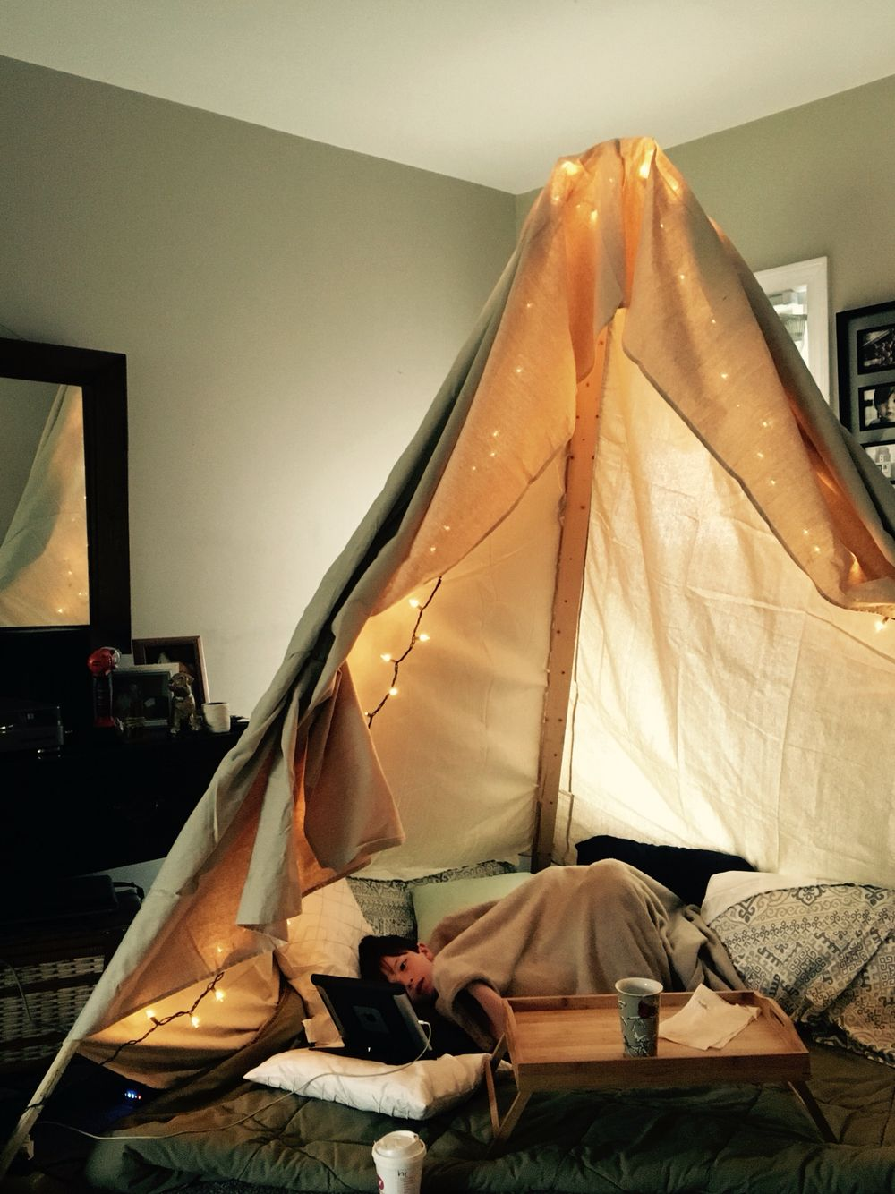 Homemade Fort For The Living Room 3 8ft Boards And 1 Canvas Painters Throw