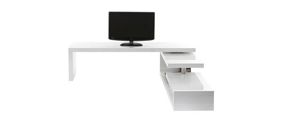 Meuble TV design laqué blanc pivotant MAX V2 Meuble TV Pinterest - peindre un meuble laque blanc