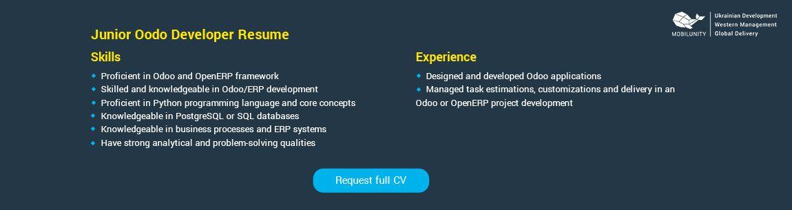 Junior Full Stack Developer Resume Example Lovely 3 Ways To Hire Odoo Developers For Erp Projects Resume Examples Resume Resume Skills