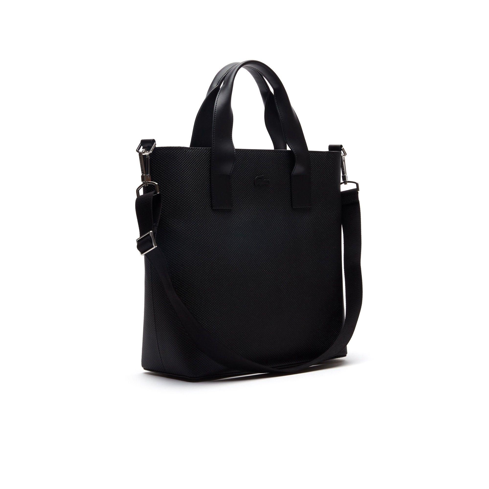best service 93565 390b7 Lacoste Men s Chantaco Piqué Leather Vertical Tote Bag - Black