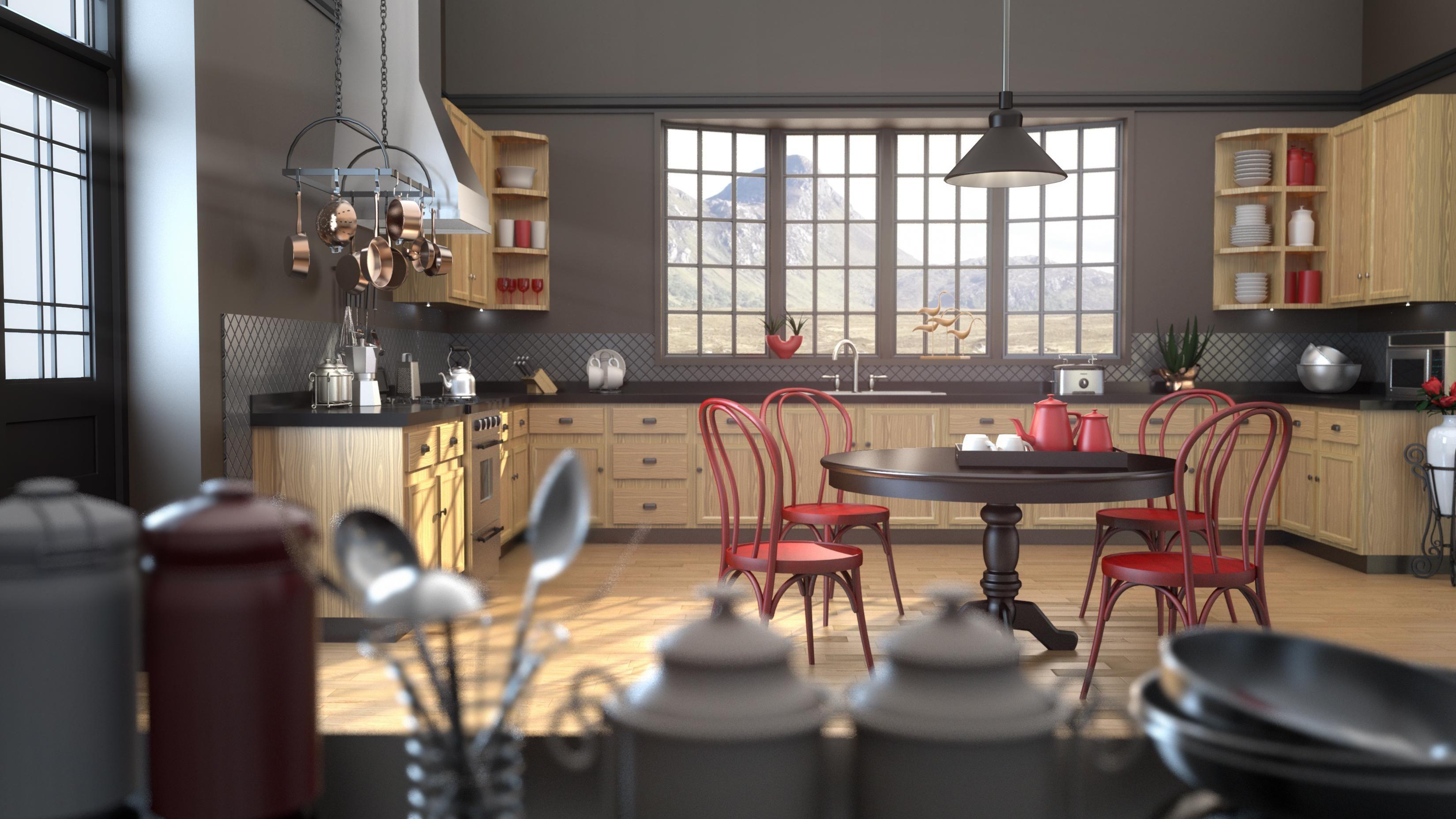 Kitchen Interior WIP Rendered In KeyShot By Tim Feher... Yes, Car Render