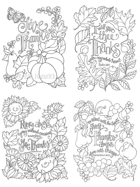 Grateful Heart Series Of Four Coloring Pages In Two Sizes Etsy Coloring Pages Fall Coloring Pages Bible Coloring Pages