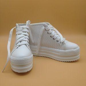 0f7d2e693 GIÀY HẬU DUỆ CỦA MẶT TRỜI Đôi sneaker da trắng cao cổ đế độn thiết ...