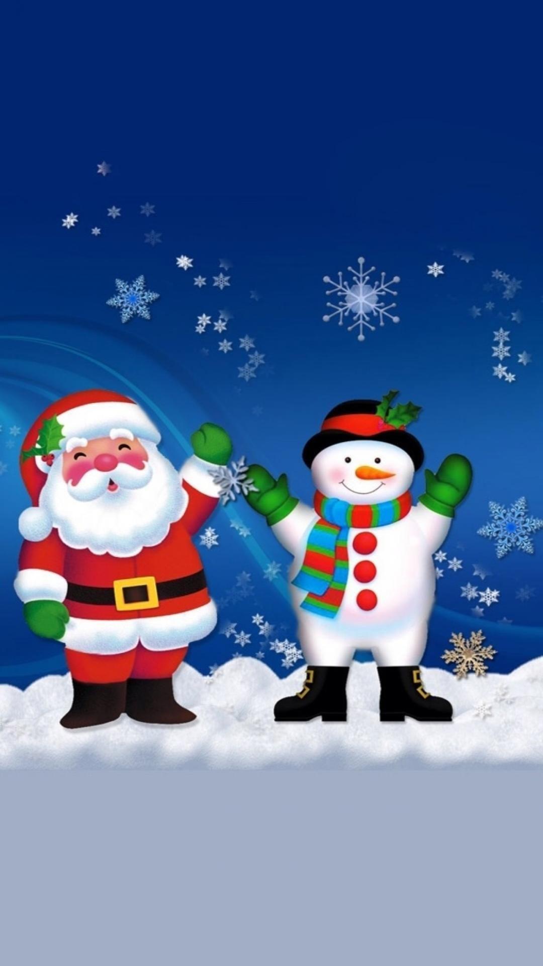 Merry Christmas Santa Claus And Snowman wallpaper