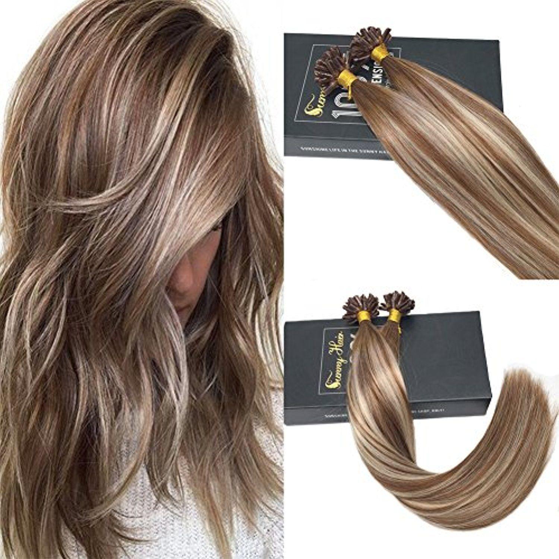 Sunny 16 Pre Bonded Human Hair Extensions U Tip Balayage Brown To
