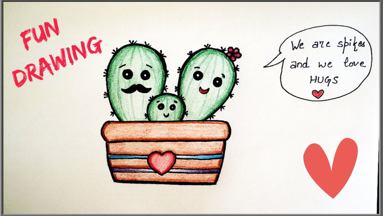 Howto Draw A Cactus Cartoon Family Drawing Tutorial For