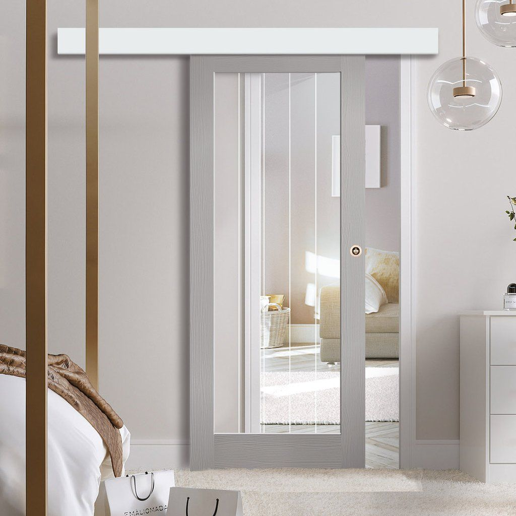 Single Sliding Door Wall Track Textured Vertical 1 Light Grey Door Clear Glass Frosted Lines Grey Doors Sliding Doors Door Wall