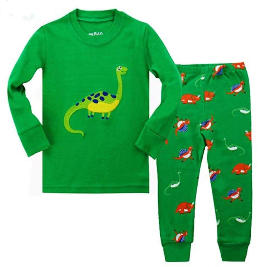 2-7 Years Little Boys Pajama Set 100/% Cotton Dino Set