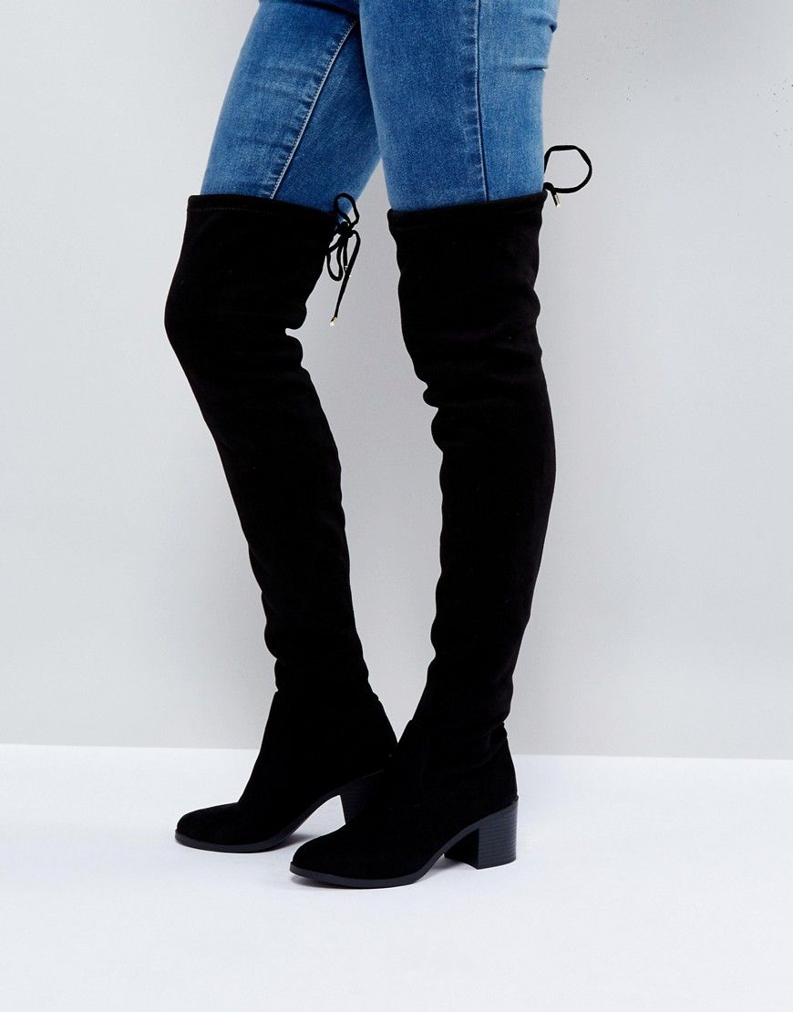 5f62f52e326 New Look Over the Knee Block Heeled Boot - Black | Boots in 2019 ...