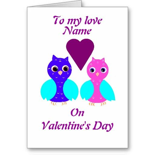 Owls Couple Valentines Day card personalize