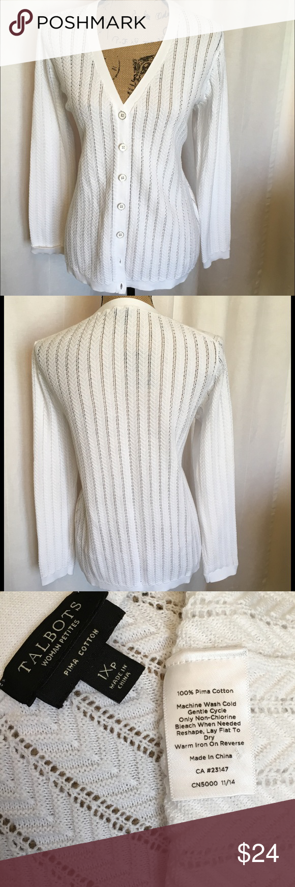 SOLD IN BUNDLE* Talbots Petite OpenWeave Cardigan | Lightweight ...