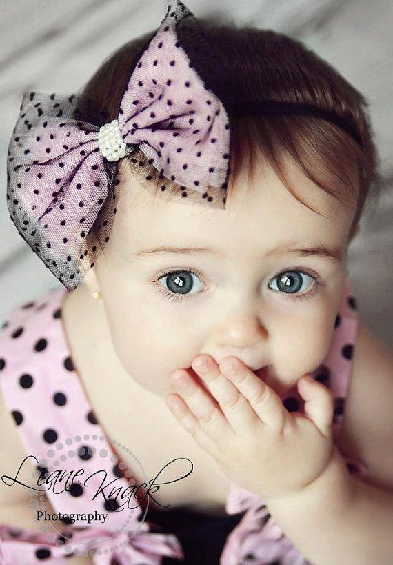 pink black tulle polka dot headband