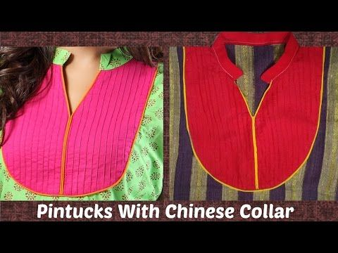 eb136209c How To Cut And Stitch Pintucks Neckline With Chinese Collar | Piping -  YouTube