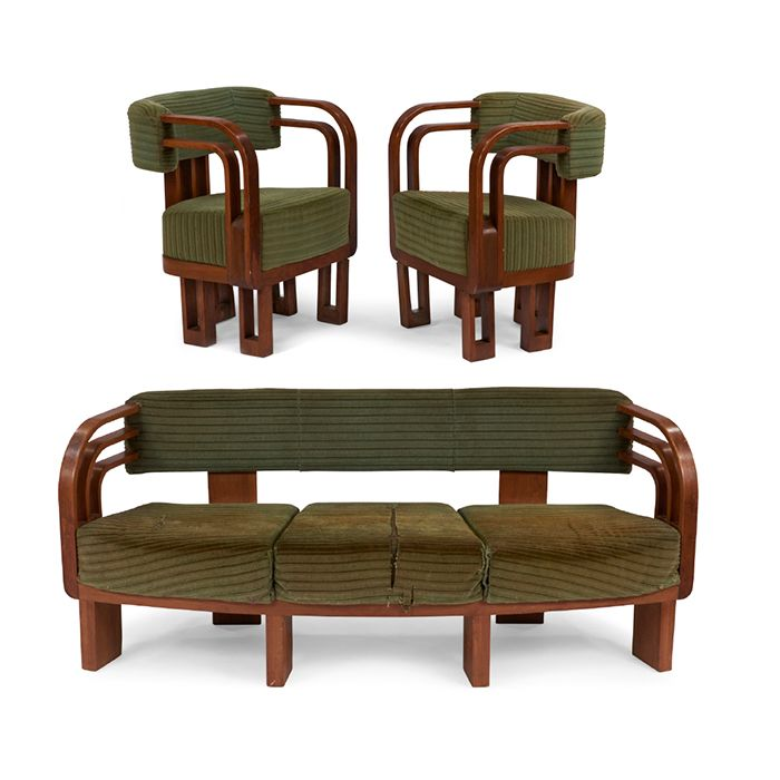 Art Deco, sofa and chairs, pair, USA, 1930s, walnut, upholstery ...