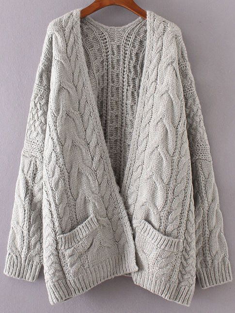 Grey Chunky Cable Knit Sweater Cardigan  6ecf8884d