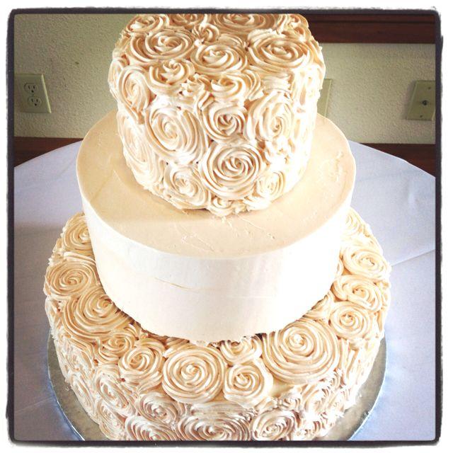 Peach Rosette Wedding Cake