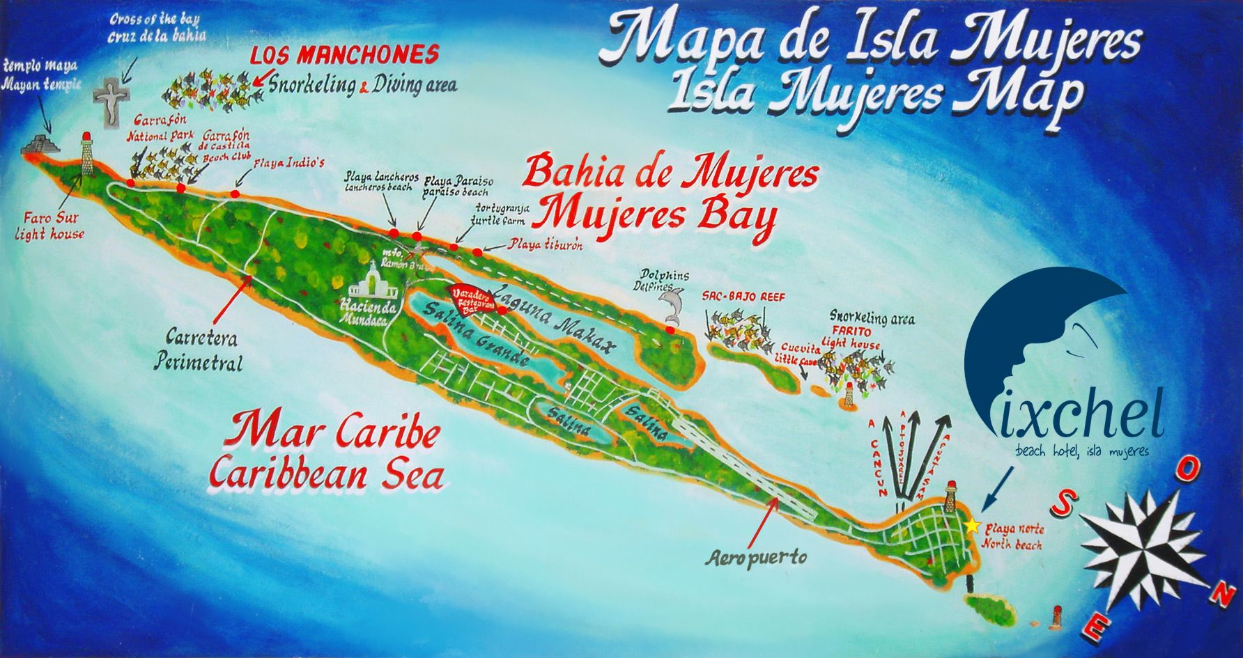 Isla Mujeres Beach Saltellite Map Places