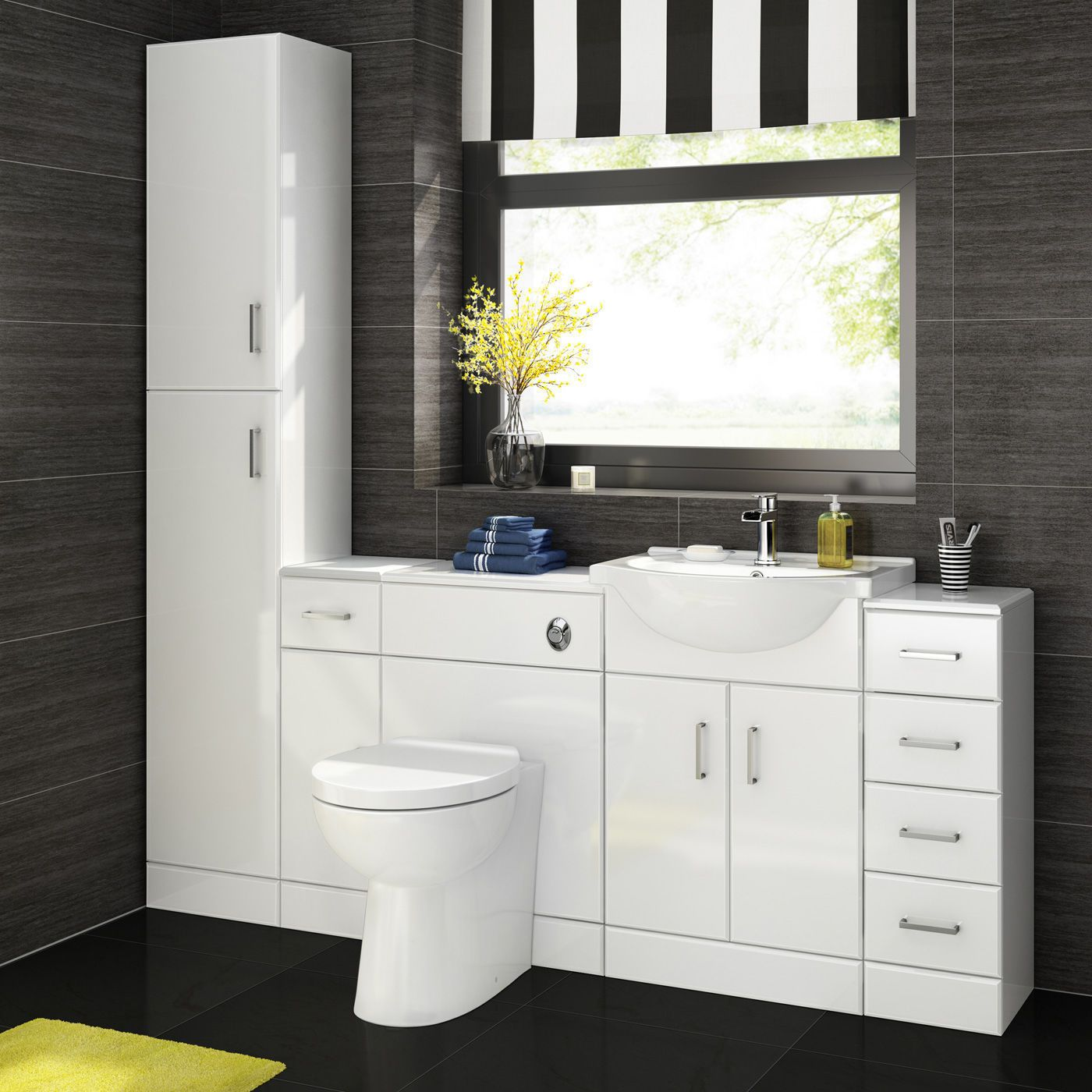 Bathroom Sink Cabinet Vanity Unit White Basin Storage Furniture Door ...