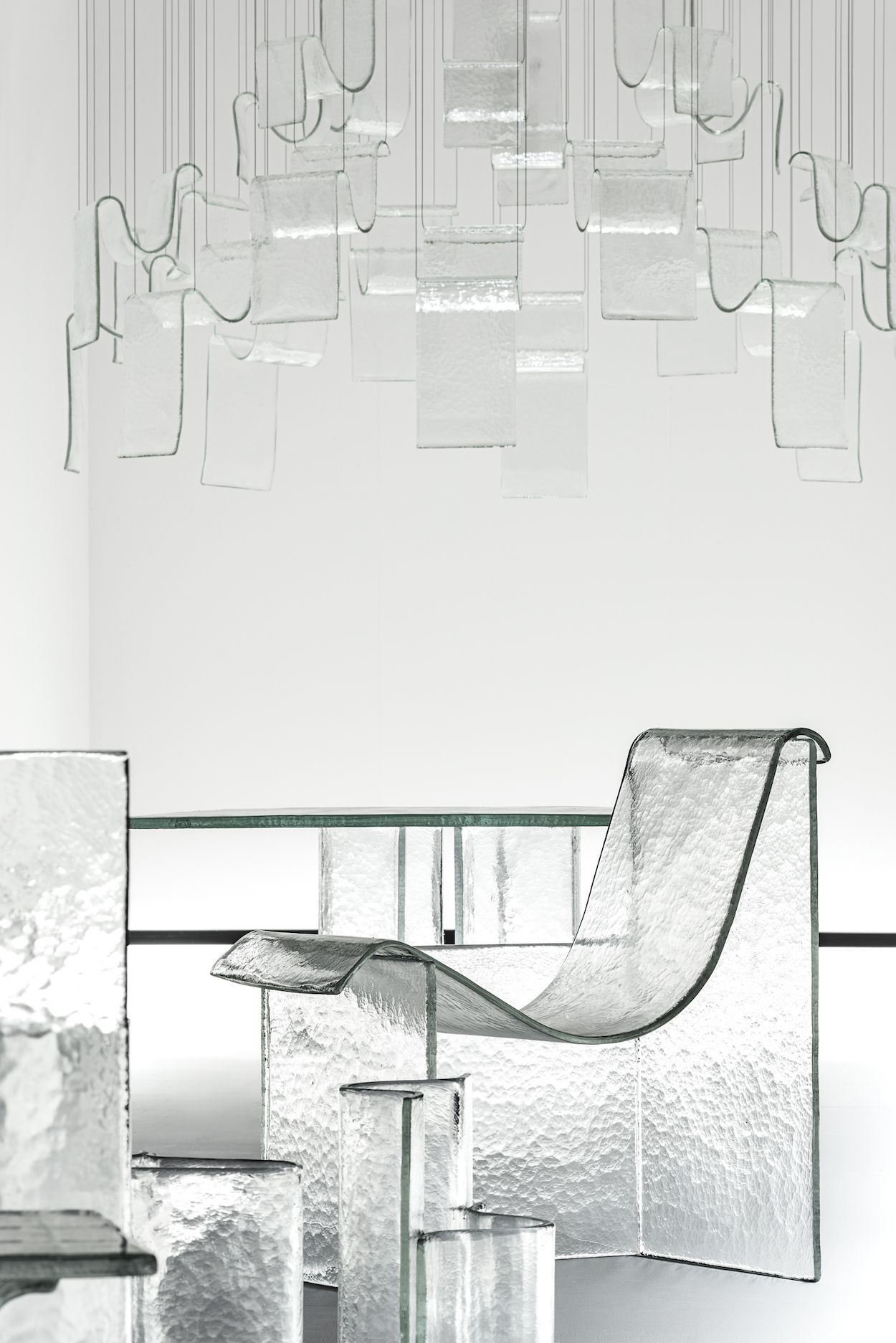 Shape Of Gravity Is An Exhibition Consisting Of Cast Glass Furniture Melt Designed By Nendo In Collaboration With W Glass Furniture Glass Design Milan Design