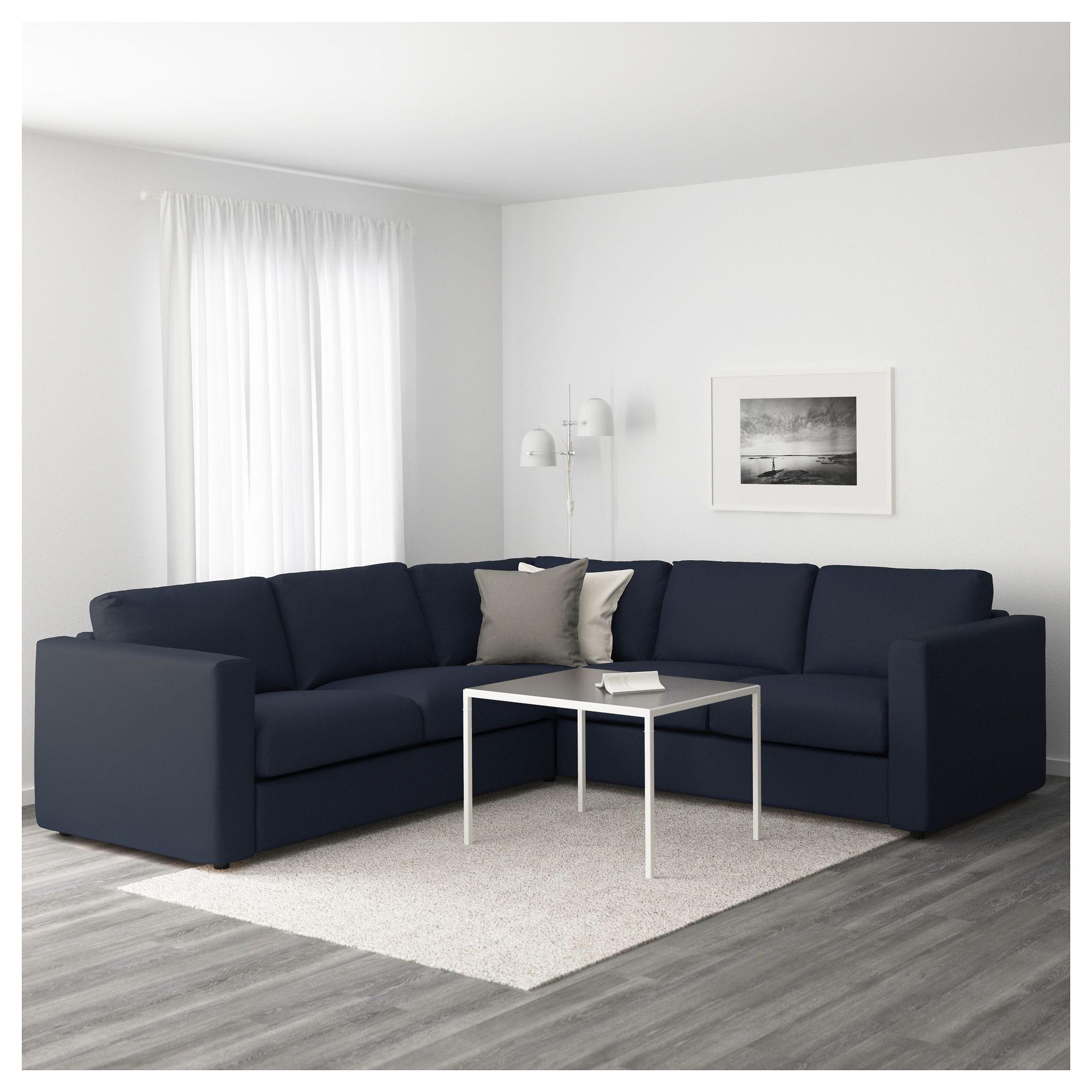 ikea vimle corner sofa 4 seat grasbo black blue this soft and cosy sofa will have a long life as the seat cushions are filled with high resilience foam