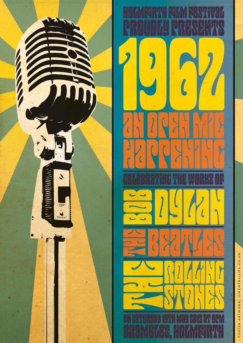 1962 Open Mic Night Poster Concert Poster Design Bob Dylan