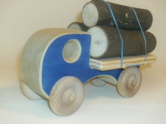 Wooden Toy Log Truck by uswoodtoys on Etsy, $28.00