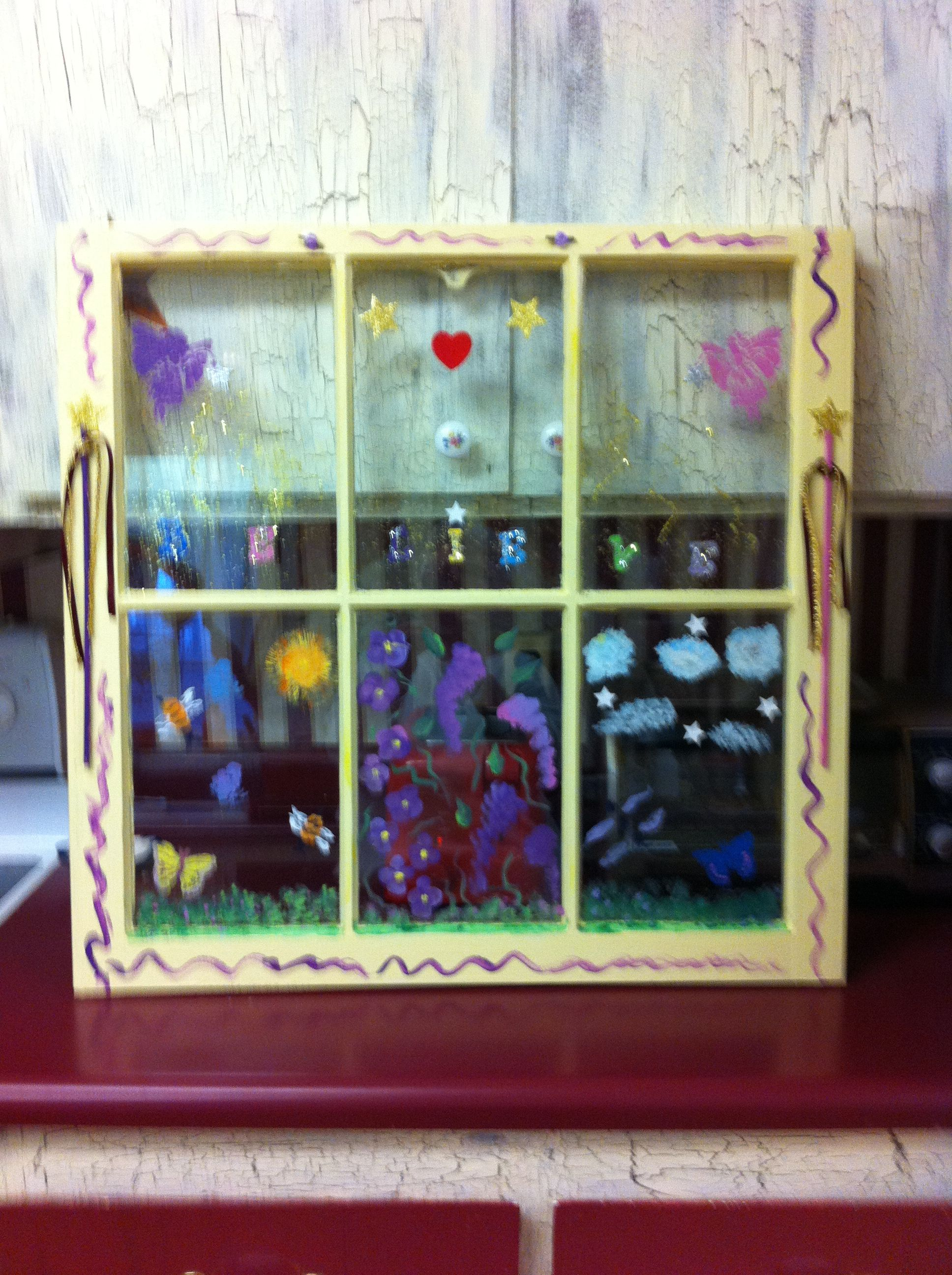 Painted Recycled Window