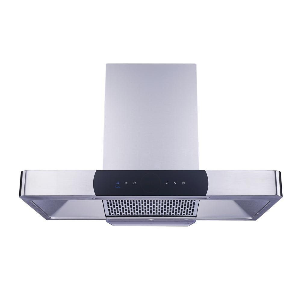 Winflo 36 In 900 Cfm Ducted Wall Mount Range Hood In Stainless Steel Baffle Filter Touch Control Turbo Boost Self Clean Wrp021b36 The Home Depot In 2020 Wall Mount Range Hood Range Hood Cleaning