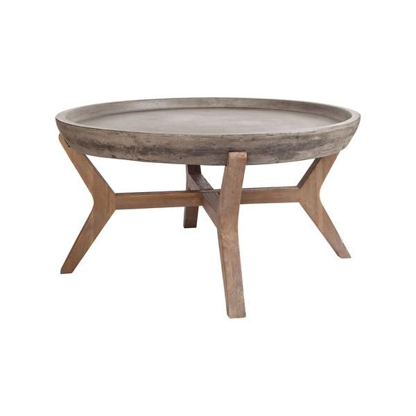 Lovely Guild Master 157 035 Tonga Coffee Table Waxed Concrete,Silver Brushed  Woodtone