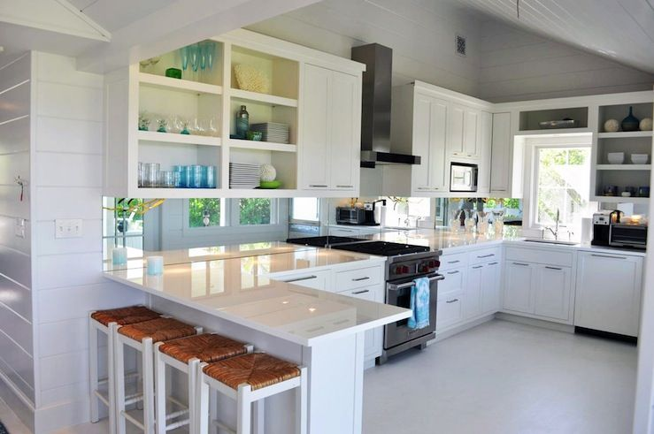 Lynn Morgan Design  Fresh modern kitchen design with gray walls paint color white cabinets quartz counter