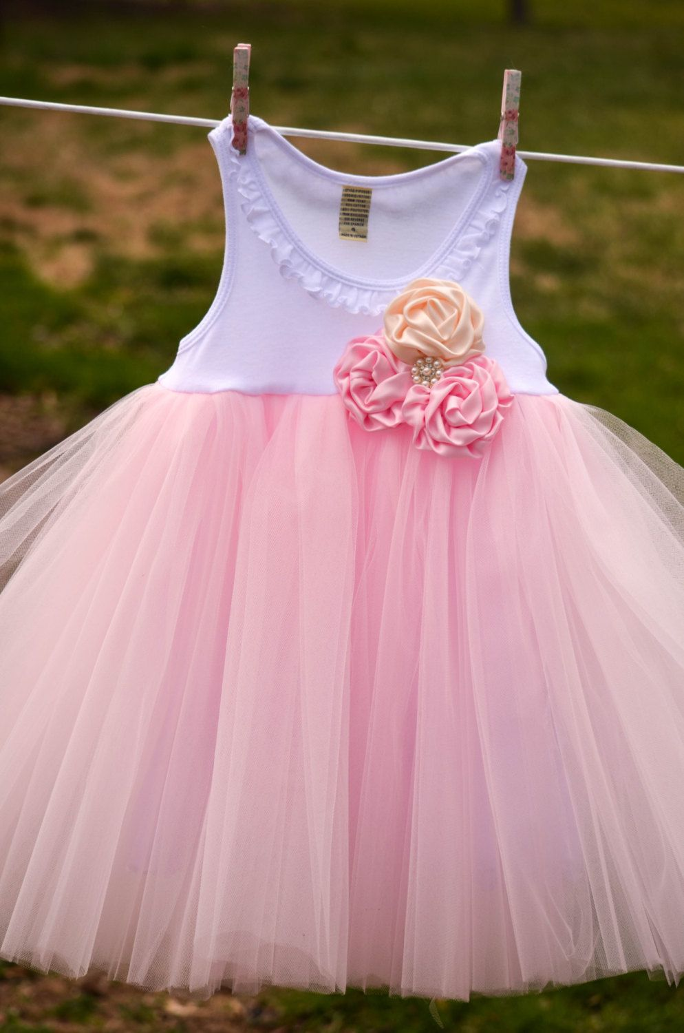 Rose Cluster Shabby Chic Flower Girl Wedding Birthday Tutu Dress ...