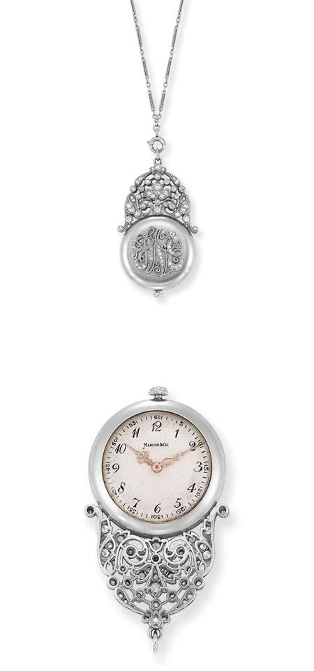 Edwardian Platinum and Diamond Pendant-Watch with Chain, Marcus & Co. The circular matte platinum cover surmounted by a diamond-set openwork scrolled design, topped by a stylized garland motif enhanced by small old European and single-cut diamonds, with rose-cut diamond crown, dial and movement signed Marcus & Co., NY., # 25059, case and cuvette signed J. Depollier & Son, c1910, completed by a delicate oblong link chain accented by rope-twist platinum, approximately 19.8 dwt.