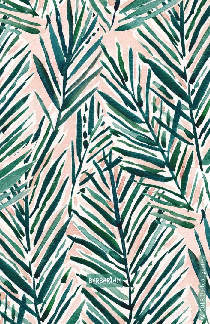 SUNSET PALMS Blush Tropical Print #tropicalpattern