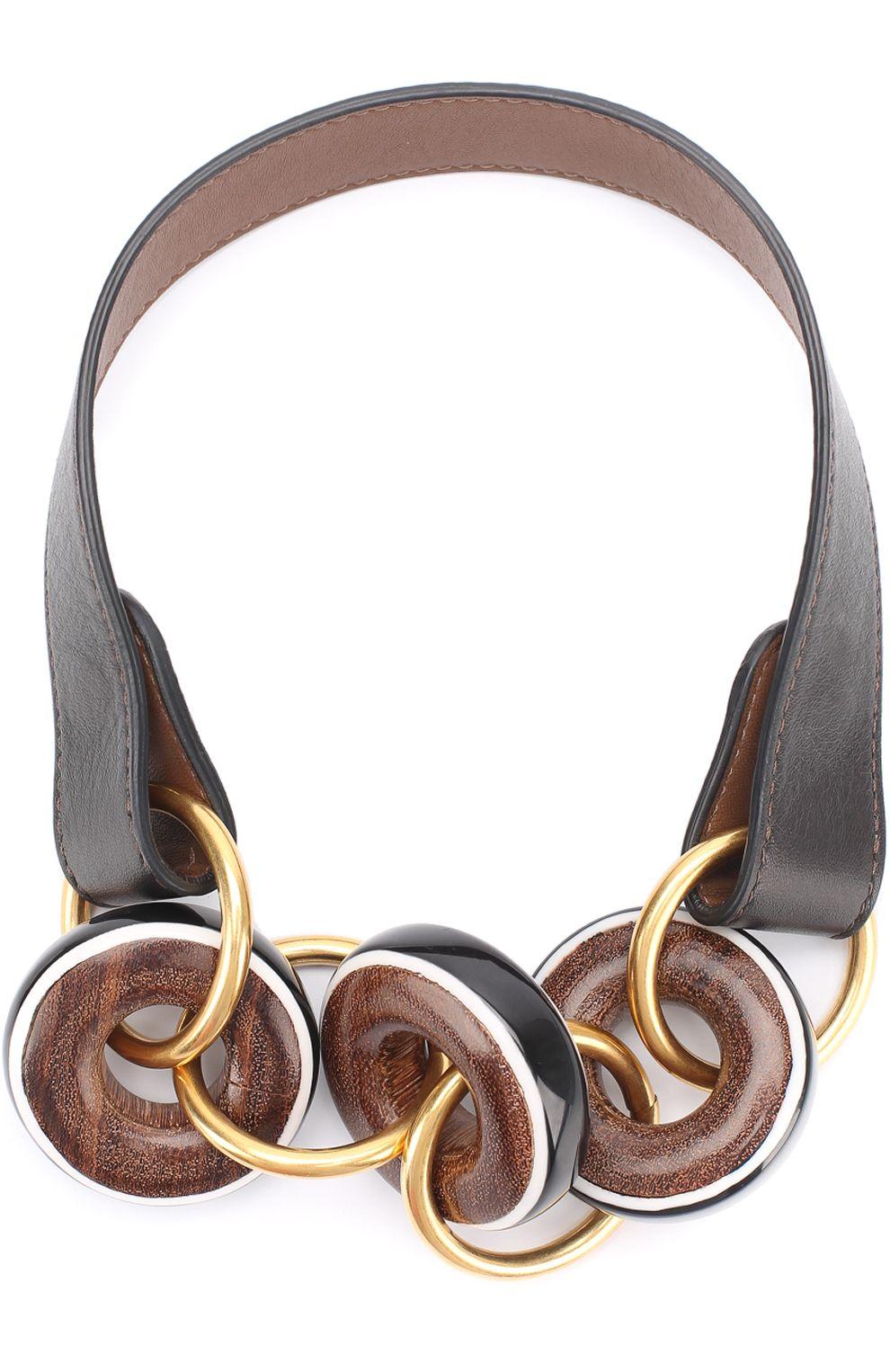 Женское черное кожаное колье с деревянными кольцами Marni ...