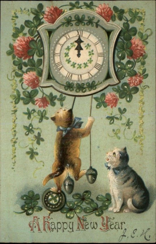 Old New Year Post Card Cats Play W Clock C 1910 535x836 Vintage Happy New Year New Year Postcard Vintage Christmas Cards
