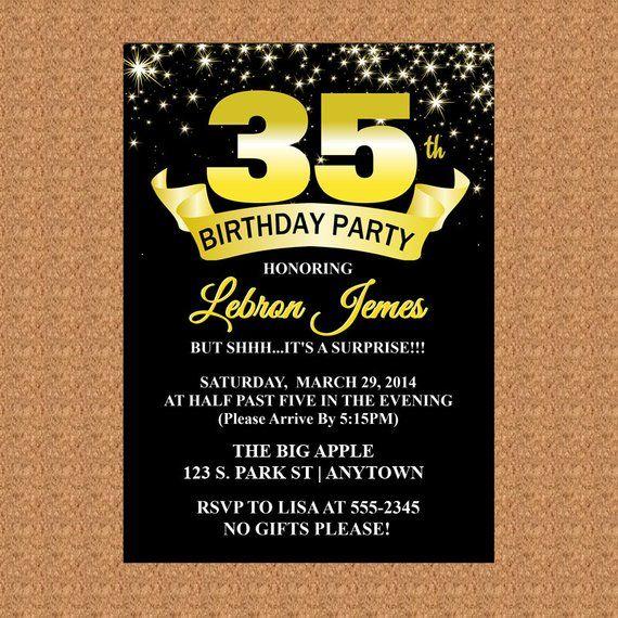 35th Birthday Invitation Black And Gold Milestone