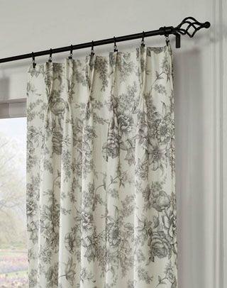 Hampton Toile Pinch Pleat Window Curtain Panel Pinch Pleat